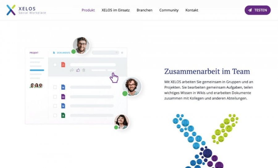 XELOS Social Workplace – Screenshot Funtkionen